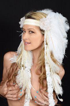 Desert Dweller Feather Ostrich Headdress Headdress Tribal Avant Garde  Burning Man Festival Handmade Custom