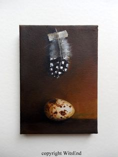 """BEAUTY SPOTS'. Feather Egg painting original Quail bird still life Tromp L'oeil art by 4WitsEnd, via Etsy"