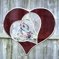 Valentine Heart Stained Glass Suncatcher by mabel Stained Glass Ornaments, Stained Glass Suncatchers, Stained Glass Crafts, Stained Glass Designs, Stained Glass Patterns, Stained Glass Windows, Leaded Glass, Mosaic Glass, Glass Wall Art
