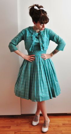 Vici Loves Vintage. Turquoise dress and matching jacket.