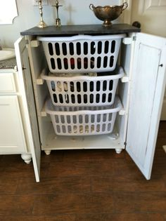 laundry basket cabinet.