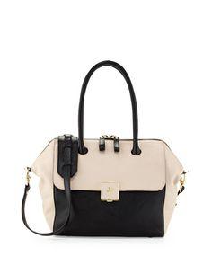 Clara Bicolor Satchel Bag, Black/Light Oak by Tory Burch at Neiman Marcus. Perfect transition bag!