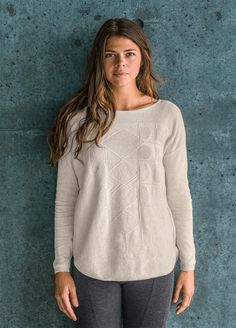 The Stacia Sweater is the perfect easy layering piece over tanks and yoga tops. Plus it's made of durable organic cotton. For more affordable yoga wear and eco friendly style, head to prAna.com.