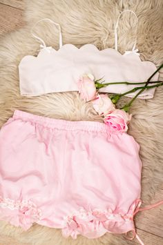 scalloped bra & silk bloomer shorts ❤