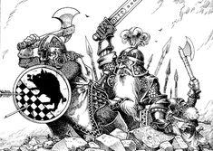 Art by Gary Chalk Fantasy Dwarf, Fantasy Warrior, Fantasy Rpg, Character Sketches, Character Art, Dungeons And Dragons, Medieval, Warhammer Fantasy, Lone Wolf