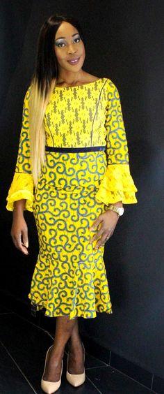 African Prints Ankara Lace Midi Dress from Diyanu - Ankara Dresses, Shirts & African Print Dresses, African Fashion Dresses, African Dress, African Prints, African Inspired Fashion, African Print Fashion, Africa Fashion, African Attire, African Wear