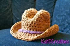 This wide brim cowboy hat is a perfect little gift for that newborn! Sure to make for some super cute photos. No joining seam, worked using stitch markers