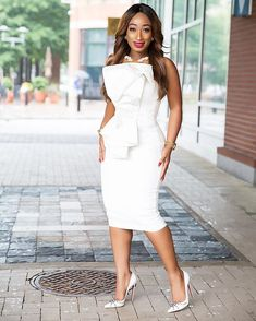 Credit to 💖💖 Genesis Structured Dress 📷 Civil Wedding Dresses, Bridal Dresses, Party Dresses, Classy Dress, Classy Outfits, White Outfits, Dress Outfits, Fashion Outfits, Dress Clothes