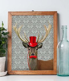 Deer Print  Red Hat And Moustache Art Print Digital by LoopyLolly