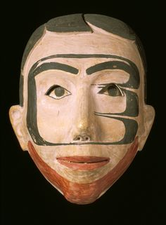 Wooden mask of a male face with moveable eyes. May never have been used because no teeth marks on back - a sign that a dancer would have bitten down to hold on to mask whilst dancing. Haida Gwaii, British Columbia, Canada. (1891.49.6)