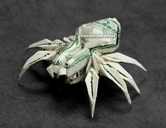 Not sure if I want this dollar - SPIDER Money Origami Animal Insect Made by VincentTheArtist (fun origami tutorials) Origami Car, Origami Bowl, Origami Frog, Origami Paper Folding, Origami Mouse, Origami And Kirigami, Oragami, Origami Elephant, Creative Money Gifts