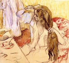 Edgar Degas - Woman at her Toilette Art Print. Explore our collection of Edgar Degas fine art prints, giclees, posters and hand crafted canvas products Edgar Degas, Degas Drawings, Degas Paintings, Henri Matisse, Toilet Art, Post Impressionism, Poster Prints, Art Prints, Pics Art
