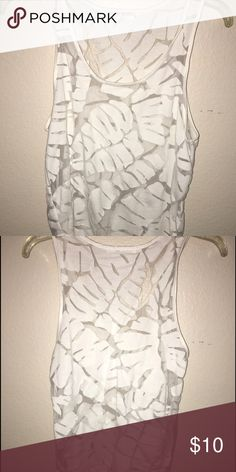 Bobbi Rocco LA White tank top White sheer tank top with solid white leaf details ; from Bobbi Rocco LA 😚 Tops Tank Tops