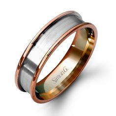 #LG102 This impressive 14K white and rose gold mens band is comprised of a contrast of hues.