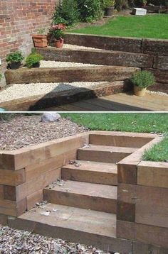 Small Garden Fountains, DIY and Crafts, Adding DIY steps and stairs to your garden or yard is a great way to enhance your outdoor landscaping whether they are perfectly flat or happen to sit. Outdoor Walkway, Outdoor Steps, Outdoor Landscaping, Backyard Patio, Landscaping Ideas, Backyard Ideas, Garden Ideas, Landscaping Retaining Walls, Hillside Landscaping