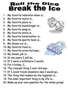 Ice Breaker game - use a 20-sided die