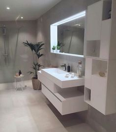Hos Her Er Mitt Bidrag ☺ ((this Can Be The Guys Bathroom In Each Of Their  Rooms.with A Dark Shower And A Fancy Looking Bath That Equally Dark))