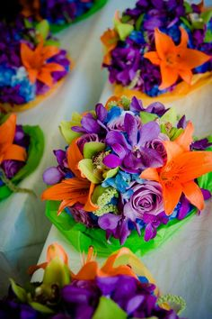 Purple, Orange, Green & Blue Wedding Bridesmaid Bouquets {Michael Novo Photography} - mazelmoments.com