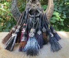 Altar Broom, MINI Witches Altar Broom, Travelling Protection, Mini Broom for… Wedding Broom, Adornos Halloween, Pagan Altar, Wiccan Crafts, Wiccan Art, Eclectic Witch, Witch Broom, Book Of Shadows, Witchcraft