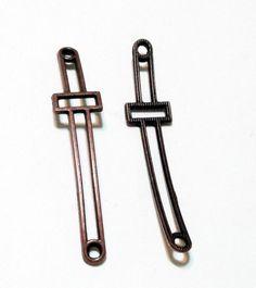 Copper Cross  Cross Bracelet Connector  Sideway by BijiBijoux