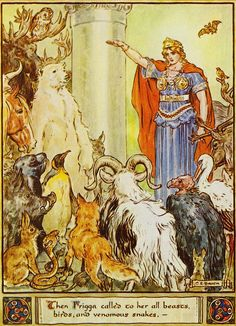 "peekadora:  "" Heroes Of Asgard illustration (via Nick Woodelf)  ""Then Frigga called to her all beasts, birds, and venomous snakes.""  Illustration by C. E. Brock (Charles Edmund Brock, 1870-1938)  """