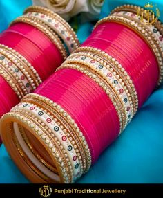 Pink Traditional Pearl Dotted Bridal Chura By Punjabi Traditional Jewellery Indian Bridal Fashion, Indian Wedding Jewelry, Indian Weddings, Romantic Weddings, Bridal Bangles, Bridal Jewelry, Wedding Looks, Bridal Looks, Chuda Bangles