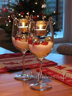 Christmas Table Decoration -Tealight Candle Glasses - these look very festive! I'd have to DIY the tealight holders, but not difficult - I may need to shop for some extra wine glasses at thrift stores - also examples for other holidays/themes - #Tealight #HolidayTable #Candles #TableScape - pb†å
