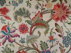 Tree of life natural linen upholstery fabric