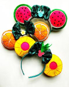 Good morning and TGIF! These fruit ears are some of my fave! Can't wait to put them in my shop! Diy Disney Ears, Disney Mickey Ears, Disney Diy, Disney Crafts, Disney Nerd, Disney Headbands, Ear Headbands, Mickey Mouse House, Stitch Ears