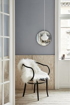 This beautiful Copenhagen apartment belongs to architects Justine Bell and Jonas Diernes. Featured in Elle Decoration South Africa earli. Blue Walls, Interior, Bentwood Chairs, Light Blue Walls, Home Decor, Home Renovation, Elle Decor, Scandinavian Interior, Furnishings