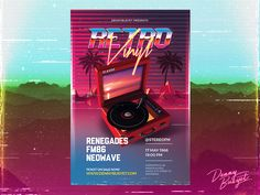"""Check out my @Behance project: """"Retro Vinyl 80's Synthwave Flyer Template"""" https://www.behance.net/gallery/51792303/Retro-Vinyl-80s-Synthwave-Flyer-Template"""