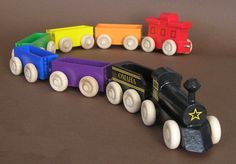 Wooden Toy Rainbow Train With Black Locomotive