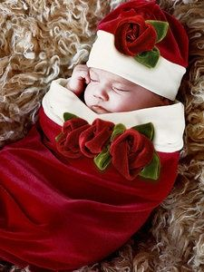 Santa Baby Cocoon  Hat Set-cozy cocoon, baby rose cocoon, santa, christmas, holidays, picture, photo session, trendy, baby boutique, girl, red, roses, infant, christmas pictures