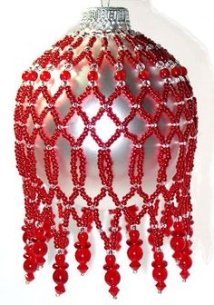 Crimson Glory Ornament Cover Pattern. A project from Bead-Patterns the Magazne Issue 32 (Nov/Dec 2010) Holiday Issue