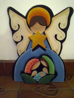 Angel Con Nacimiento Christmas Yard Art, Christmas Nativity Scene, Felt Christmas Ornaments, Christmas Time, Christmas Crafts, Christmas Decorations, Xmas, Angel Crafts, Holiday Crafts For Kids