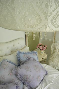 Shabby Chic Decor ● lace lampshade and crystal beads...good use for out-of-date lace curtains