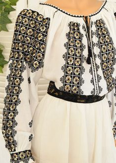 Ie Romaneasca Domnica - Chic Roumaine Tribal Dress, Wedding Costumes, Folk Costume, Festival Wear, Traditional Dresses, Dance Wear, Hand Embroidery, Cross Stitch Patterns, How To Wear