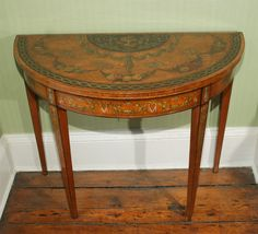 Sheraton Period Painted Satinwood Demilune Card Table. English, Circa 1780