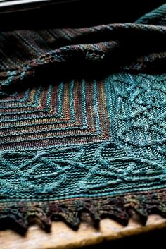 Ishneich by Lucy Hague. malabrigo Sock in Pocion and Aguas colorways. Shawl.