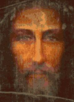 Jesus Shroud of Turin interpretive Cross Stitch portrait chart PDF - EASY chart with one color per sheet And regular chart! 2 charts in one! Christ The King, The Cross Of Christ, Turin Shroud, Christmas Artwork, Jesus Christ Images, Christian Pictures, Fantasy Art Landscapes, Jesus Pictures, Pixel Art