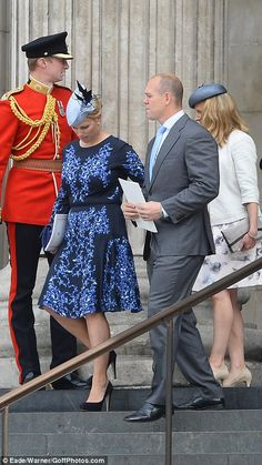 dailymail:  Service of Thanksgiving for Queen Elizabeth's 90th Birthday, St. Paul's Cathedral, June 10, 2016-Zara and Mike Tindall and Lady Rose Gilman