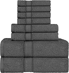 Utopia Towels 8 Piece Towel Set, Grey, 2 Bath Towels, 2 Hand Towels, and 4 Washcloths Best Bath Towels, Bath Towel Sets, Bathroom Towels, Hand Towels, Washing Towels, Washing Clothes, In Natura, Shower Towel, Luxury Towels
