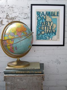 """Ramble on Baby"" Letterpress on map page by Amy Rice. #AmandaBrown #BrownBearStudio"
