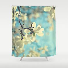 White magnolia Fabric Shower Curtain aqua by VintageChicImages, $64.99 #etsy #homedecor #showercurtain