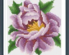 Blue Rose Cross Stitch Pattern Nature Modern Cross por AprilBeeShop