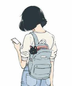 The girl with a cat modern art illustration manga art drawing sketch inspiration anime art Art Manga, Art Anime, Anime Art Girl, Manga Girl Drawing, Cute Girl Drawing, Anime Girls, Manga Anime, Illustration Manga, Art And Illustration