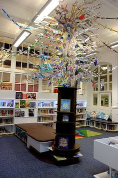Credit: rah90 Our beautiful New Colville Primary school library - three local artists supported children from the whole school at to create a fantastical tree, aquarium seating and a child/ground level mosaic around all of the bookshelves. An amazing space to be calm and learn from all our new books... shared by rah90, on GuardianWitness.