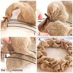 How to make a burlap wreath Work in a blue ribbon? Burlap flowers?