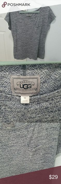 Ugg Heathered Tunic Ugg navy and white heathered tunic shirt.  Goes great with a light pair of jeans.  High quality material.  Front pocket detail.  Never worn. UGG Tops Tunics