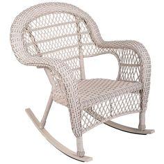 Wicker Rocker, Wicker Rocking Chair, White Wicker Patio Furniture, Porch Furniture, Compact Table And Chairs, Toddler Table And Chairs, White Rocking Chairs, Blue Chairs, Beach Chairs
